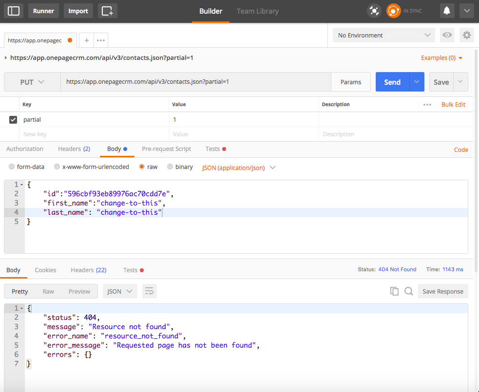 Partial PUT request JSON data with Postman - OnePageCRM